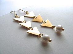 Gold triangle and pearl drop earrings 14k by MySoCalledVintage, $32.00