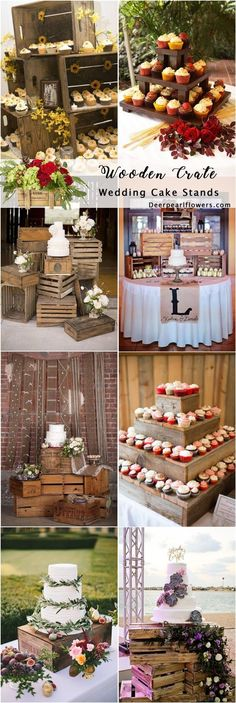Wooden crate wedding cake stand decor / http://www.deerpearlflowers.com/rustic-woodsy-wedding-trend-2018-wooden-crates/ #rusticweddings #countryweddings