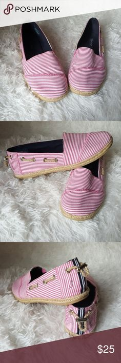 Nautica Espadrilles Brand: Nautica Size: 6.5 Color: Pink White Brown Style: Espadrilles Condition: Gently Worn Heel Height: 0  Buyers can expect: Careful packaging, Fast shipping, & Delivery confirmation with each item purchased! PET FREE & SMOKE-FREE HOME. Please note: Due to lighting/monitors, the items colours may be slightly differ w/ the picture. Please bundle to save more. Nautica Shoes Espadrilles