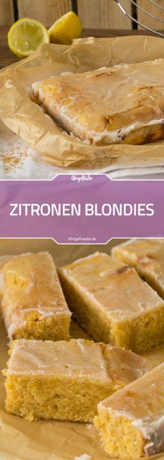 Zitronen Blondies #rezept #foodblog #backen