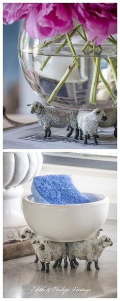 DIY Plastic Toy Upgrade to French Farmhouse PedestalI used to post plastic toy crafts all the time, but haven't seen many I've liked recently - until this one. Find plastic toy animals with flat backs, then paint and glue them together to make a...