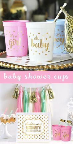 Girl Baby Shower Cups printed with Its a Girl in Pink and Gold - great pink and gold baby shower decorations! by Mod Party
