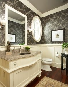Gorgeous powder room. I wonder if the downstairs bath is too small for panels... I love this look