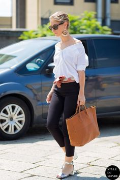 Update your white shirt by styling it off the shoulder. www.stylestaples.com.au