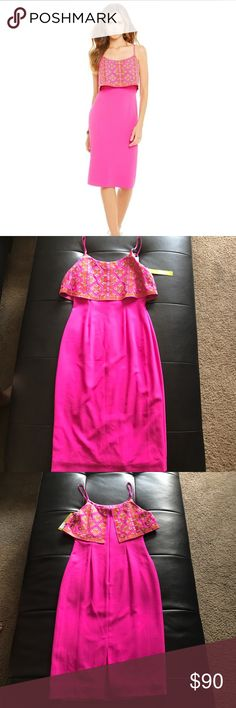 Gianni Bini Julie Embroidered Popover Midi Dress Size 2. Scoop neckline, embroidered detailed, popover bodice, back zipper and polyester/spandex. Fitted sexy style ✨Price is Negotiable ✨ NWT ✅ Gianni Bini Dresses Midi