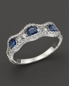 Sapphire and Diamond Band in 14K White Gold