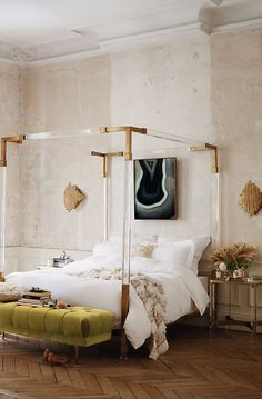 Anthro brass and lucite bed
