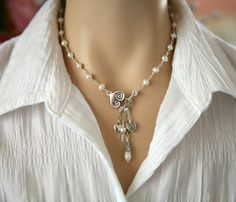 Freshwater Pearl Dangling Heart Charm Necklace Heart by Karenda