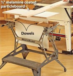 Tip: A simple T-shape support, made from scrap plywood or MDF, mounts in your portable clamping workstation, where shown. Once you have matched the support to your table height, drill the base of the support and insert dowels to instantly set the height each time. To make this table even more versatile, use it with your bandsaw and miter-saw, drilling separate dowel holes for each height.