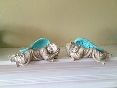 Little sleeping angels statues pair mint by MySugarBlossom on Etsy