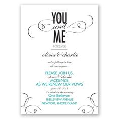 you and me vow renewal invitation | vow renewal wording at Invitations By Dawn