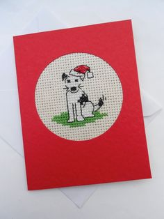 Boarder and Jack Russell Terrier Cross Stitch Christmas Card | Bramley ...