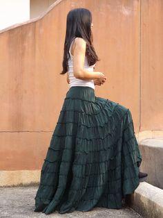 Long Skirt ...Boho Skirt ....Color Forrest Green ... Soft and