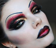 Black gold and red for lips and eyes for Halloween - Fashion9shop.com