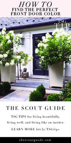Finding the perfect front door color can be a challenge. We asked interior designer Jan Roden to share her expert advice for finding the ideal hue. Front Door Colors, Front Doors, The Scout Guide, Outdoor Ideas, Outdoor Decor, White Houses, Home Look, Long Beach, Exterior Paint