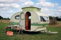 Cool Camper - produced by Dutch company Mostard (1959 and the late 70s) Quality carpentry with birch ply cupboards, aluminium trim and bonus pop top.