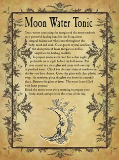 Moon Water Tonic for homemade Halloween Spell Book. Moon Spells, Magick Spells, Wicca Witchcraft, Halloween Spell Book, Halloween Spells, Spells For Beginners, Witchcraft For Beginners, Witchcraft Spell Books, Gypsy Witch