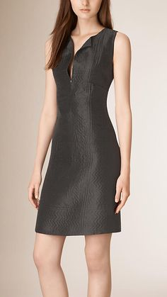 Black Structured Textured Shift Dress - love the collar