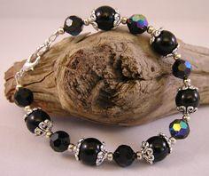 Black Bracelet Beaded Jewelry by CathysCraftyDesigns on Etsy