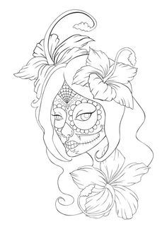 Sugar Skull Girl Tattoo Creative Commons Attribution-Noncommercial-No Derivative Works . Skull Coloring Pages, Coloring Pages To Print, Colouring Pages, Coloring Books, Coloring Pages For Grown Ups, Adult Coloring Book Pages, Sugar Skull Mädchen, Candy Skulls, Skull Candy Tattoo