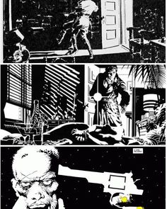 Jim Steranko has written that Noel Sickles' influence on comics was pioneering the chiaroscuro technique (light coming from certain angles)… Frank Miller Sin City, Frank Miller Art, Frank Miller Comics, Comic Book Artists, Comic Artist, Comic Books Art, Dc Comics, Black Comics, Sin City Comic