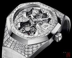 The new Royal Oak Concept Flying Tourbillon. A bold Haute Horlogerie piece, yet intensely feminine. Audemars Piguet Watches, Audemars Piguet Royal Oak, Cool Watches, Rolex Watches, Unique Watches, Fine Watches, Most Popular Watches, Steampunk Clock, Skeleton Watches