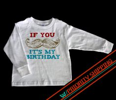 Long Sleeve Mustache Birthday Boy Shirt w/PRIORITY by PartyWithMe, $17.00