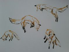 Leaping foxes, watercolour
