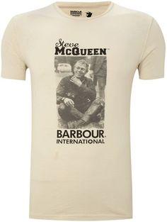 Fancy - Barbour Steve Mcqueen Sitting Smiling Print Tshirt in for Men (ecru)   Lyst