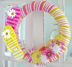 flip flop wreath Make a Splash! Pool Noodle Summer Crafts for Kids