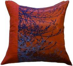 "Artiwa Modern 18"" x 18"" Red Decorative Silk / Velvet Pillow Cover with Natural - #Artiwa"