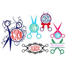 Hairdresser Scissors Monogram Svg Cuttable Design
