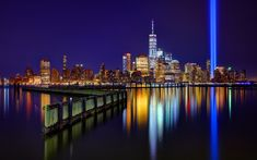 Download wallpapers New York, World Trade Center 1, night cityscape, skyscrapers, modern city, USA, neon light lines