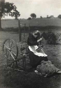 Woman carding wool, 1915  Wisconsin Historical Society