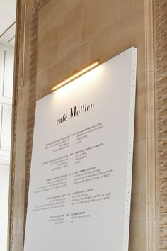 French designer Mathieu Lehanneur just installed these gorgeous high lamps at the Louvre's Café Mollien in Paris for their new makeover. The venue has reopened after a month of work and f Menu Signage, Wayfinding Signage, Signage Design, Hotel Signage, Restaurant Menu Design, Restaurant Branding, Restaurant Restaurant, Deco Design, Cafe Design