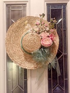 Beautiful shabby chic spring hat wreath is decorated with pink and white Rose bouquet, floral picks m, and finished with a large green bow. This hat makes the perfect spring front door hanger/wreath! White Rose Bouquet, Hat Decoration, Spring Hats, Shabby Chic Curtains, Fancy Hats, Summer Wreath, Floral Arrangements, Craft Projects, Crafty