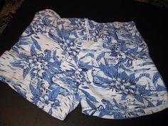Sand & Sun Men's Swim Trunks Blue White Palm Trees Beach Flower w Pockets 40-42 #SandSun #Trunks