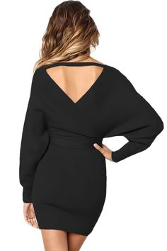 2f2aea20b80 Black Long Sleeve V Neck Tied Sweater Dress. Stylish Dresses