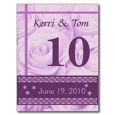 #PURPLE #Roses #Wedding #TableNumber #Card #Reception #PostCards