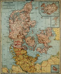 1921 Map of Denmark, with insets of Iceland, Faroe Islands, and Bornholm