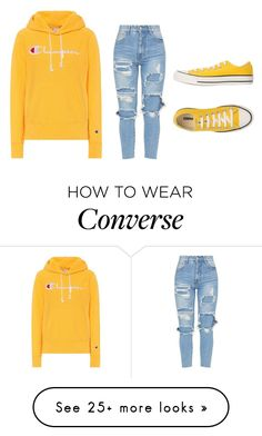 """Championnn"" by katelyn-style on Polyvore featuring Champion and Converse"