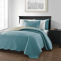 Chezmoi Collection Mesa 3-piece Reversible Bedspread King Size, Blue/Khaki //http://bestadjustablebed.us/product/chezmoi-collection-mesa-3-piece-reversible-bedspread-king-size-bluekhaki/