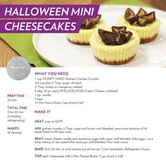 Nothing like some sweet Mini Peanut Butter Cups to top these not so scary, but very delicious Halloween Mini Cheesecakes! #recipe #dessert