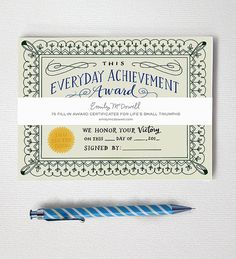 Everyday Achievement Certificates: A Notepad of Awards, Funny Notepad, Award Certificates