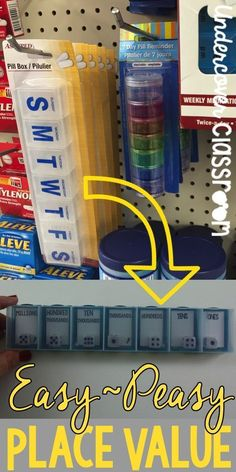 Here's an easy photo tutorial, plus some FREE labels for making a place value teaching tool out of a dollar store pill box. Great for reading and writing numbers in the millions! #mathgames #mathcoursesforadults