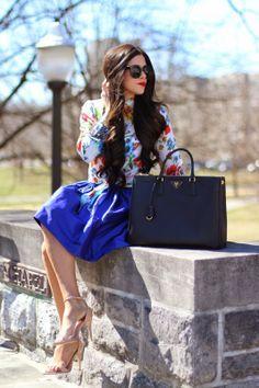 cobalt blue prada handbag