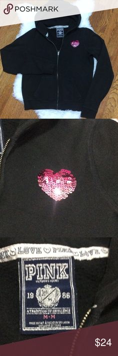 """VS PINK Sequined Hoodie Black hoodie with ombré sequined heart on front and back. Singer metallic PINK across back shoulders. All sequins intact. Always hung to dry. P-P 20"""" S-H 23"""" Sleeve 27"""" Slightly oversized PINK Victoria's Secret Tops Sweatshirts & Hoodies"""