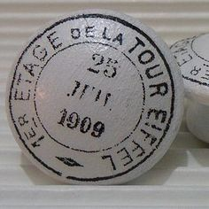 French Postmark Painted Wooden Knob