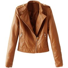 Brown Stand Collar Zipper Detail Leather Look Jacket (235 BRL) ❤ liked on Polyvore featuring outerwear, jackets, faux leather jacket, synthetic leather jacket, vegan leather jacket, vegan jackets and brown jacket