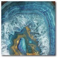 'Blue and Gold Agate' Graphic Art Print on Wrapped Canvas
